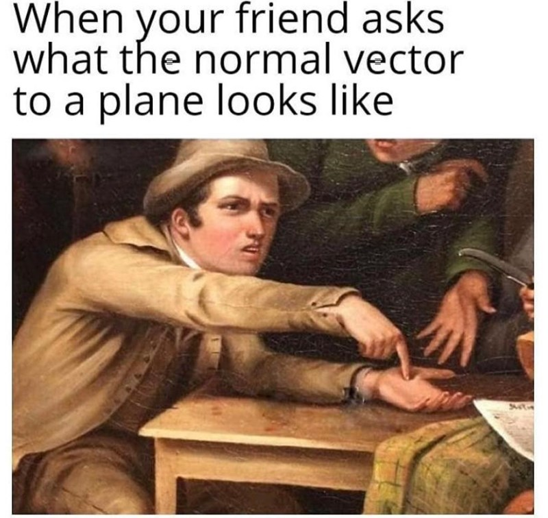 Text - When your friend asks what the normal vector to a plane looks like