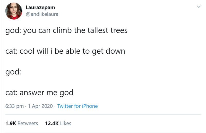 Text - Laurazepam @andlikelaura god: you can climb the tallest trees cat: cool will i be able to get down god: cat: answer me god 6:33 pm · 1 Apr 2020 · Twitter for iPhone 1.9K Retweets 12.4K Likes