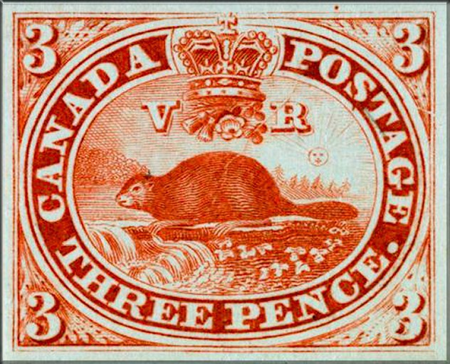 Postage stamp - THREE PENCE. 3. TOSTAGIE CANADA