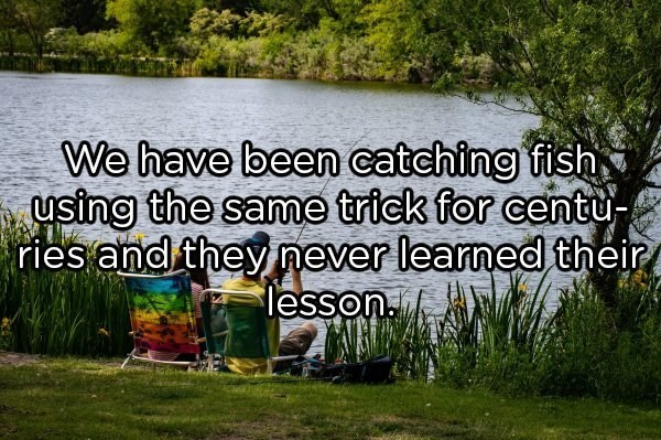 Natural landscape - We have been catching fish, using the same trick for centu- ries and they never learned their lesson.