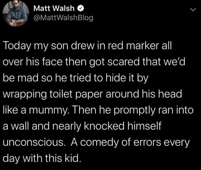 Text - Matt Walsh @MattWalshBlog Today my son drew in red marker all over his face then got scared that we'd be mad so he tried to hide it by wrapping toilet paper around his head like a mummy. Then he promptly ran into a wall and nearly knocked himself unconscious. A comedy of errors every day with this kid.