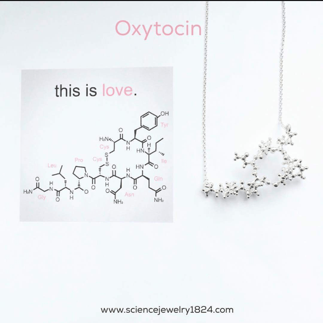 Text - Oxytocin this is love. он Tyr HaN. Cys HN. Pro le Leu HN н Gin н H&N Gly Asn н NHa NH. www.sciencejewelry1824.com