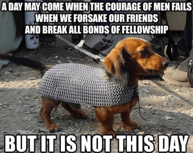 Dog - A DAY MAY COME WHEN THE COURAGE OF MEN FAILS WHEN WE FORSAKE OUR FRIENDS AND BREAK ALL BONDS OF FELLOWSHIP BUT IT IS NOT THIS DAY