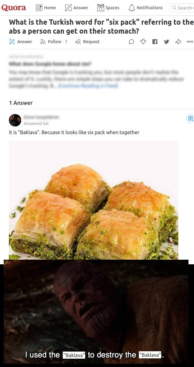 Quora meme about how the turkish word for 6-pack abs is Baklava which is a pistachio flavored desert that resembles abs when served and a thanos meme of i used the baklava to destroy the baklava