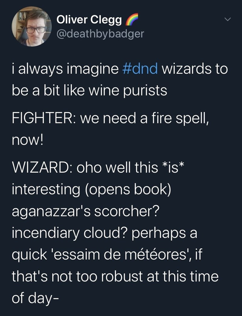 Text - Oliver Clegg @deathbybadger i always imagine #dnd wizards to be a bit like wine purists FIGHTER: we need a fire spell, now! WIZARD: oho well this *is* interesting (opens book) aganazzar's scorcher? incendiary cloud? perhaps a quick 'essaim de météores', if that's not too robust at this time of day-
