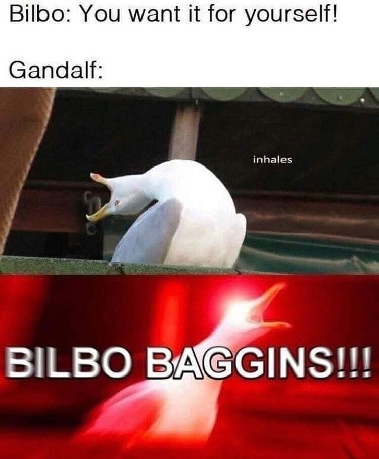 Photo caption - Bilbo: You want it for yourself! Gandalf: inhales BILBO BAGGINS!!!