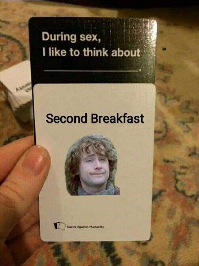 Text - During sex, I like to think about Second Breakfast Cards Auainst Hamanity