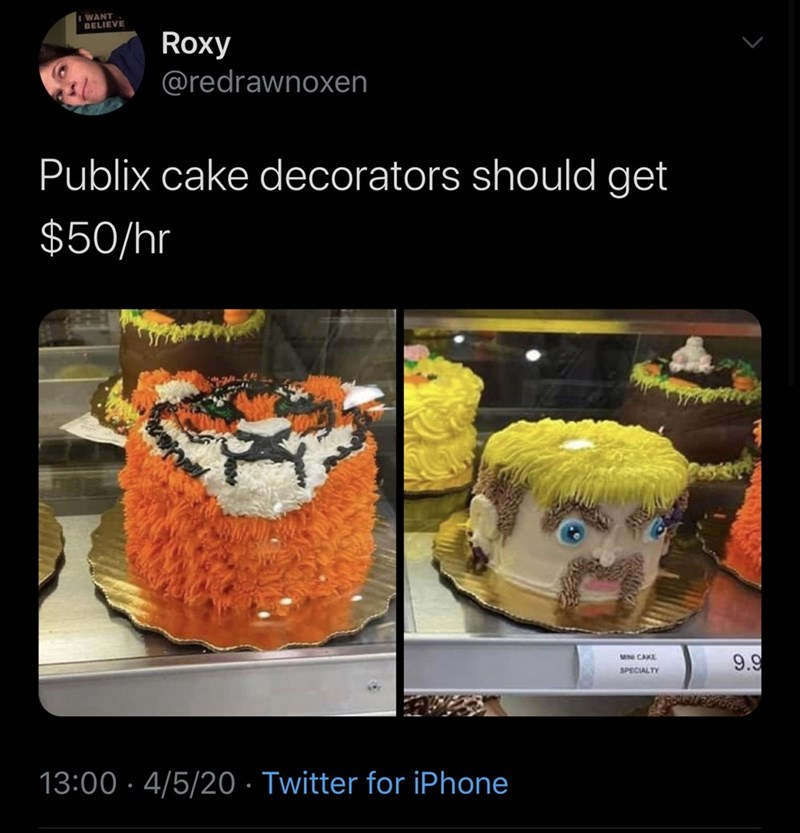 Animation - I WANT BELIEVE Roxy @redrawnoxen Publix cake decorators should get $50/hr 9.9 M CAKE SPECIALTY 13:00 · 4/5/20 · Twitter for iPhone