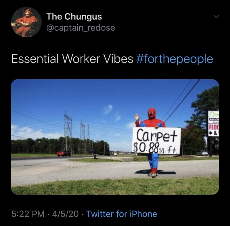 Sky - The Chungus @captain_redose Essential Worker Vibes #forthepeople CALON Pisa FLOO Carpet $0 8851 ft 5:22 PM · 4/5/20 · Twitter for iPhone