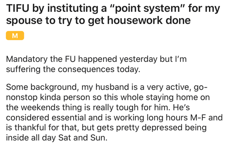 Husband's Spouse Introduces Points System For Chores, He Plays It