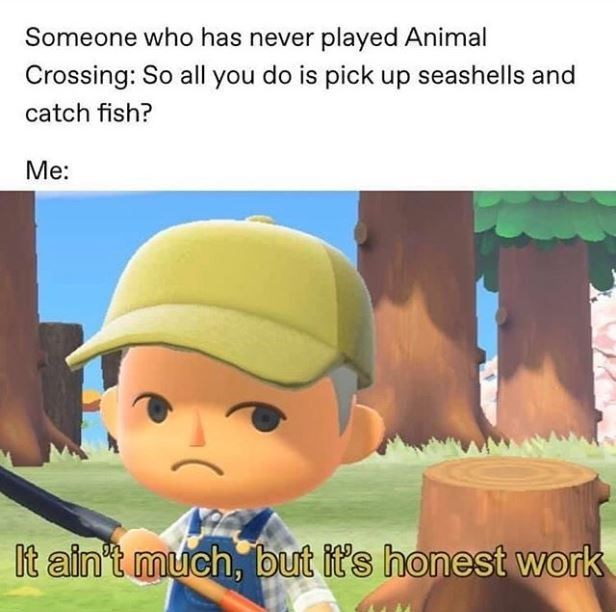 Cartoon - Someone who has never played Animal Crossing: So all you do is pick up seashells and catch fish? Me: It ain't much, but it's honest work