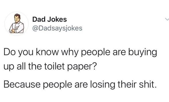 Text - Dad Jokes @Dadsaysjokes Do you know why people are buying up all the toilet paper? Because people are losing their shit.