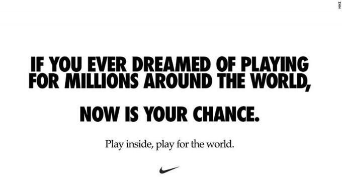 Text - IF YOU EVER DREAMED OF PLAYING FOR MILLIONS AROUND THE WORLD, NOW IS YOUR CHANCE. Play inside, play for the world. HIKE