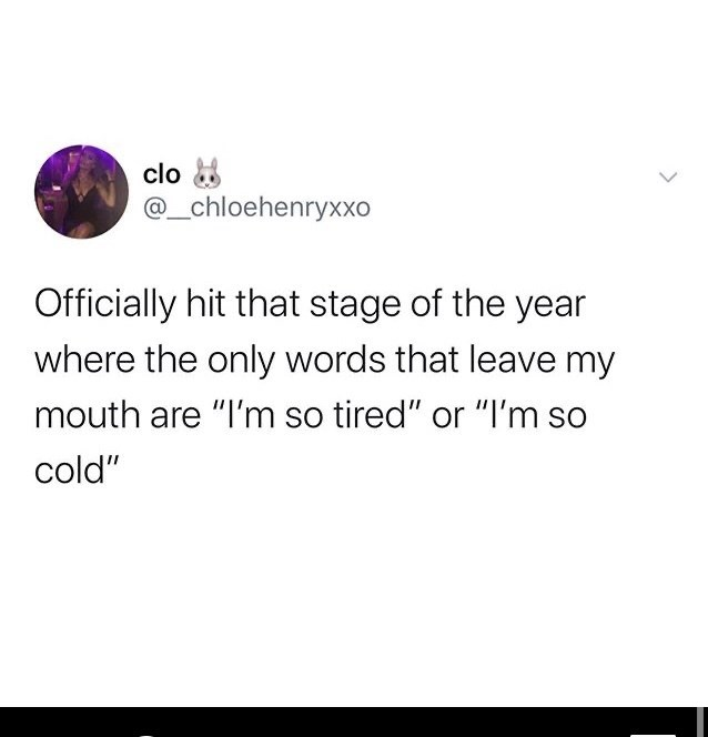 """Funny random memes - Text - clo 8 @_chloehenryXXo Officially hit that stage of the year where the only words that leave my mouth are """"I'm so tired"""" or """"I'm so cold"""""""