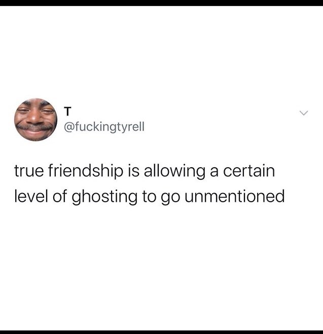 Funny random memes - Text - @fuckingtyrell true friendship is allowing a certain level of ghosting to go unmentioned