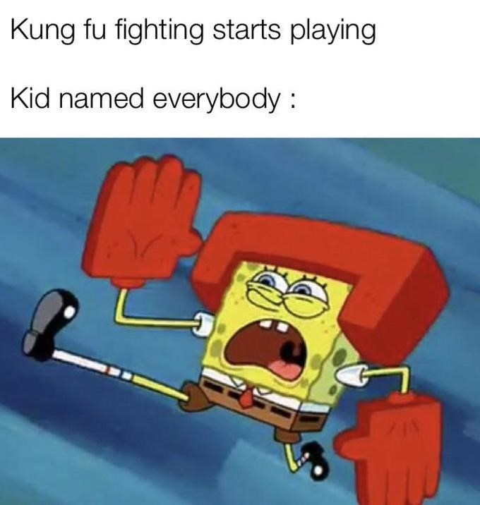 Cartoon - Kung fu fighting starts playing Kid named everybody :