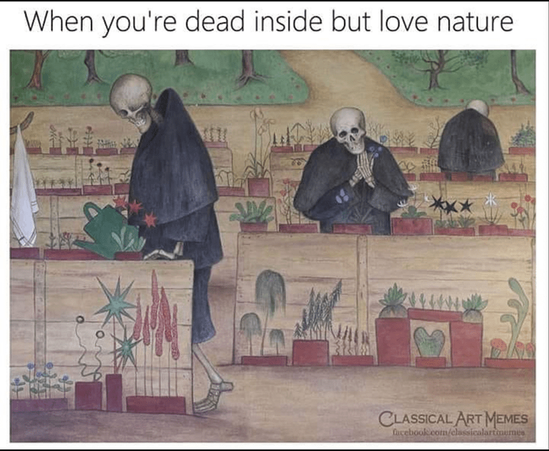 Text - When you're dead inside but love nature CLASSICAL ART MEMES ucebook.com/classicalartimumes