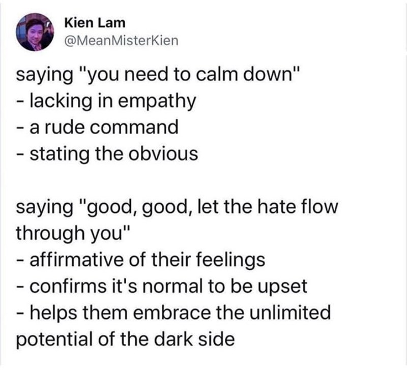 "Text - Kien Lam @MeanMisterKien saying ""you need to calm down"" - lacking in empathy - a rude command - stating the obvious saying ""good, good, let the hate flow through you"" - affirmative of their feelings - confirms it's normal to be upset - helps them embrace the unlimited potential of the dark side"