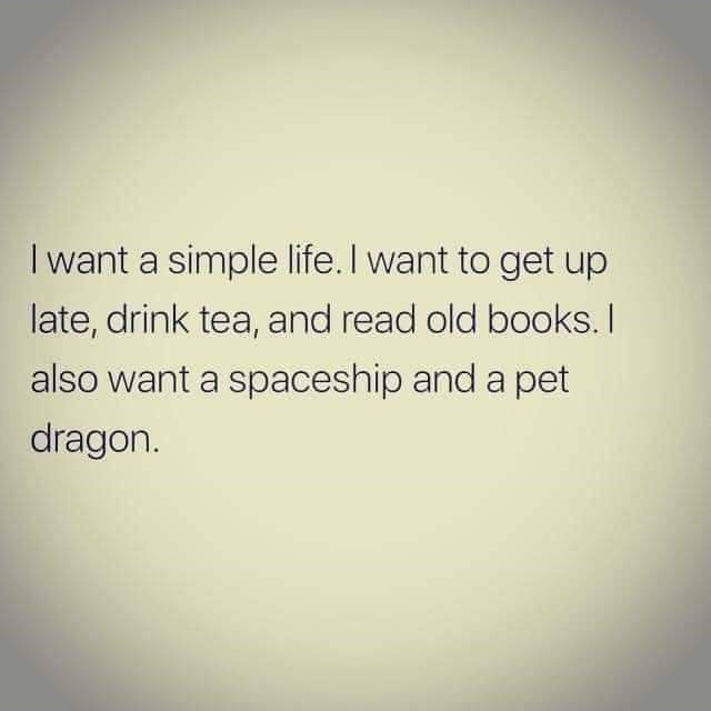 Text - I want a simple life. I want to get up late, drink tea, and read old books. I also want a spaceship and a pet dragon.