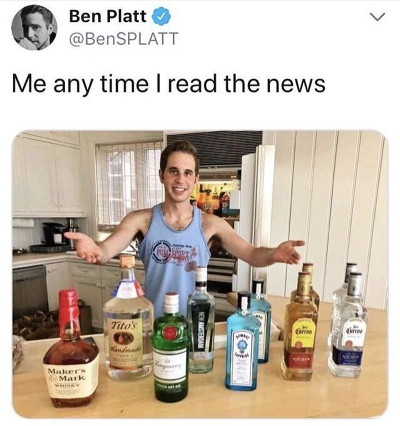 Product - Ben Platt @BenSPLATT Me any time I read the news LGEPORT Tito's Currio Currve Nandmade Maker's BMark NEW AMSTERDAM