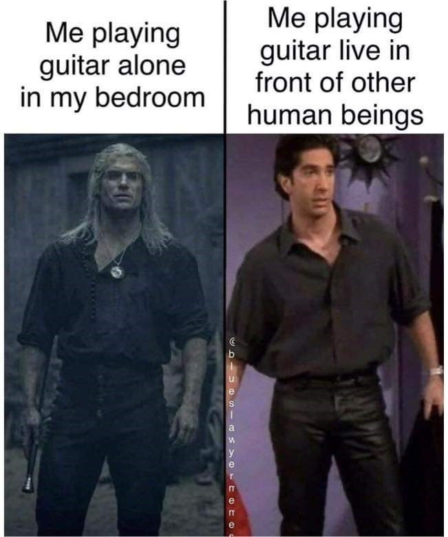 Photo caption - Me playing guitar alone in my bedroom Me playing guitar live in front of other human beings У IT