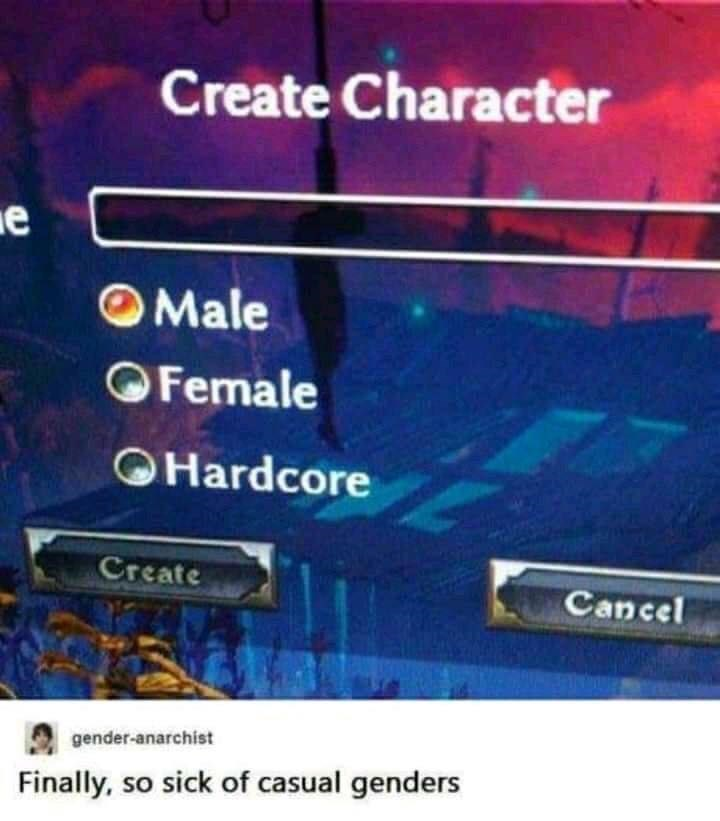 Text - Create Character OMale OFemale OHardcore Create Cancel gender-anarchist Finally, so sick of casual genders