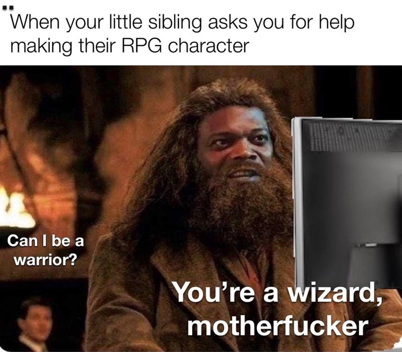 Hair - When your little sibling asks you for help making their RPG character Can I be a warrior? You're a wizard, motherfucker