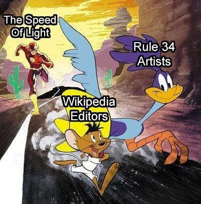 Cartoon - The Speed ப Rule 34 Artists Wikipedia Editors