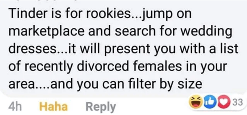 Text - Tinder is for rookies...jump on marketplace and search for wedding dresses...it will present you with a list of recently divorced females in your area...and you can filter by size 33 4h Haha Reply