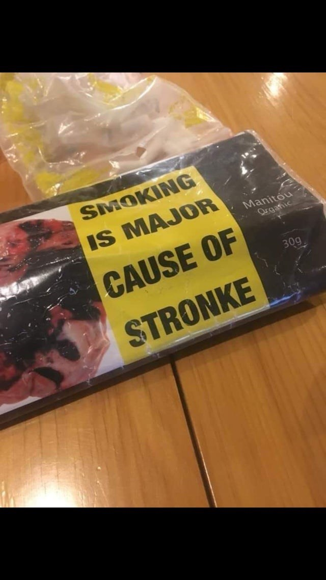 Material property - SMOKING IS MAJOR Manitou Organic CAUSE OF 30g STRONKE