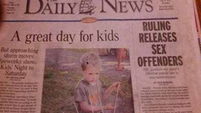 Newspaper - DÄILY NEWS RULING RELEASES SEX OFFENDERS A great day for kids But approaching storm moves ireworks show, Kids Night to Saturday
