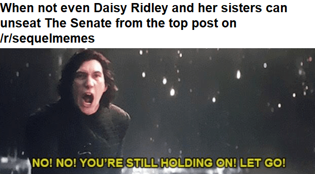 Text - When not even Daisy Ridley and her sisters can unseat The Senate from the top post on Irisequelmemes NO! NO! YOU'RE STILL HOLDING ON! LET GO!