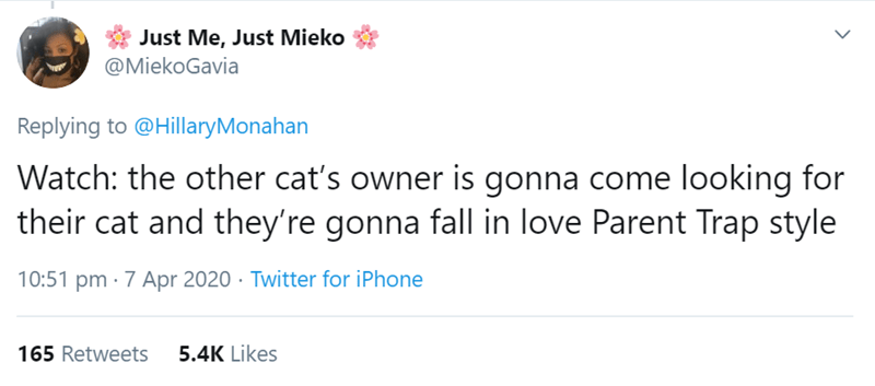 Text - Just Me, Just Mieko @MiekoGavia Replying to @HillaryMonahan Watch: the other cat's owner is gonna come looking for their cat and they're gonna fall in love Parent Trap style 10:51 pm · 7 Apr 2020 · Twitter for iPhone 165 Retweets 5.4K Likes