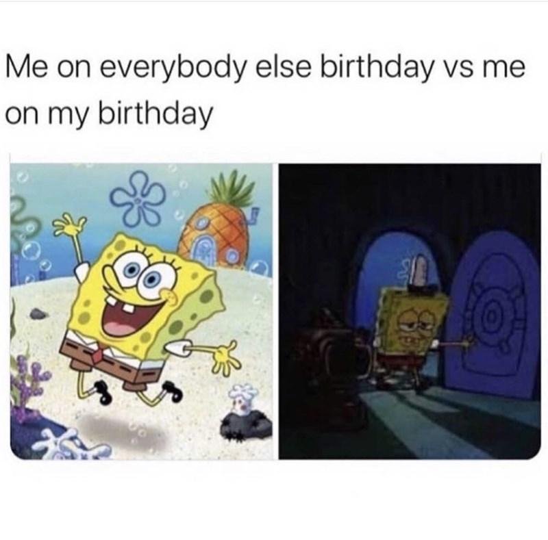 Cartoon - Me on everybody else birthday vs me on my birthday