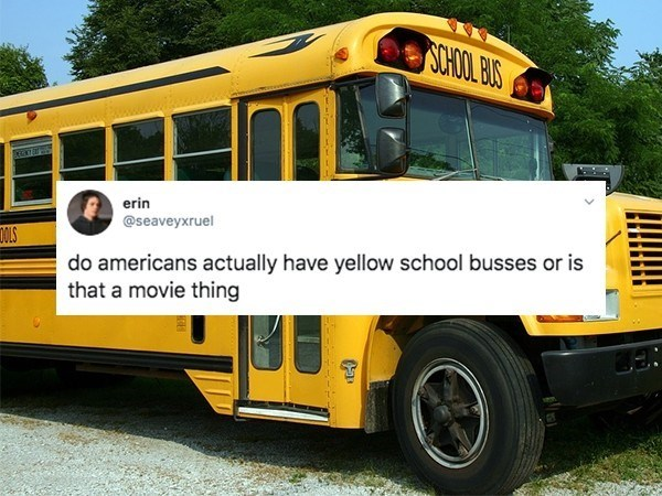 Land vehicle - SCHOOL BOS erin @seaveyxruel DOLS do americans actually have yellow school busses or is that a movie thing