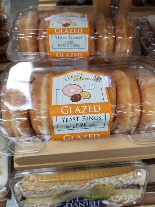 Food - GLAZED YEAST RINGS COUNT NET Wi Z O GLAZED TREATS. GLAZED YEAST RINGS B COLINT NET WI 13 OZ ta69g) GLAZED DANISH