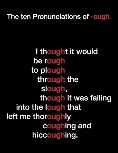 Text - The ten Pronunciations of -ough. I thought it would be rough to plough through the slough, though it was falling into the lough that left me thoroughly coughing and hiccoughing.
