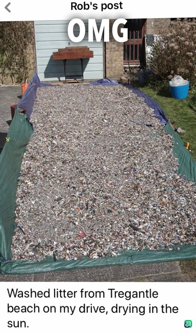 Mulch - Rob's post OMG Washed litter from Tregantle beach on my drive, drying in the sun.