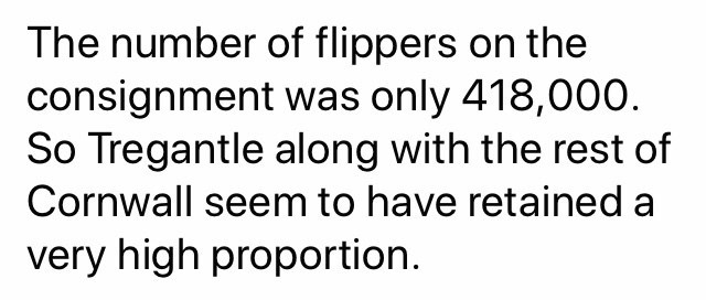 Text - The number of flippers on the consignment was only 418,000. So Tregantle along with the rest of Cornwall seem to have retained a very high proportion.
