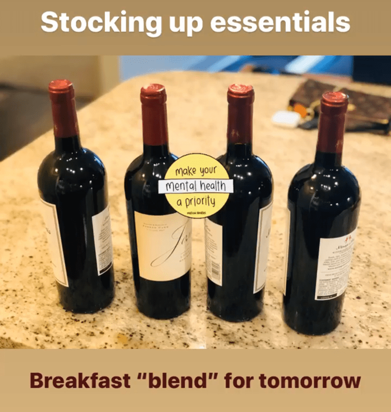 """Bottle - Stocking up essentials make your mental health a priority Breakfast """"blend"""" for tomorrow"""