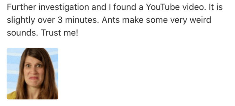 Face - Further investigation and I found a YouTube video. It is slightly over 3 minutes. Ants make some very weird sounds. Trust me!