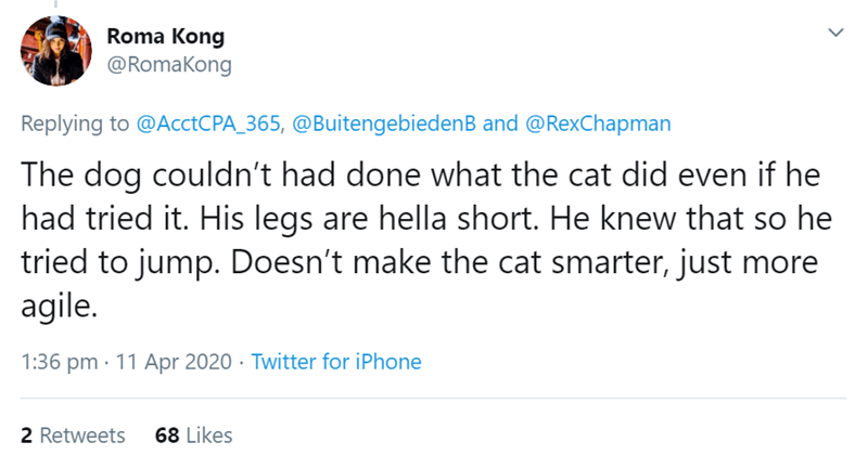Text - Roma Kong @RomaKong Replying to @AcctCPA_365, @BuitengebiedenB and @RexChapman The dog couldn't had done what the cat did even if he had tried it. His legs are hella short. He knew that so he tried to jump. Doesn't make the cat smarter, just more agile. 1:36 pm · 11 Apr 2020 · Twitter for iPhone 2 Retweets 68 Likes