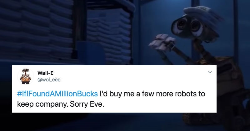 Twitter users share what they'd do if they found a million bucks.