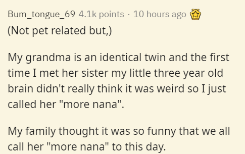 """Text - Bum_tongue_69 4.1k points · 10 hours ago (Not pet related but,) My grandma is an identical twin and the first time I met her sister my little three year old brain didn't really think it was weird so I just called her """"more nana"""". My family thought it was so funny that we all call her """"more nana"""" to this day."""
