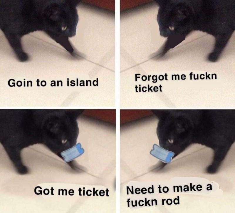 Black - Forgot me fuckn ticket Goin to an island Need to make a fuckn rod Got me ticket