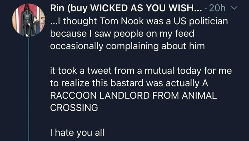 Text - Rin (buy WICKED AS YOU WISH... · 20h v ...I thought Tom Nook was a US politician because I saw people on my feed occasionally complaining about him it took a tweet from a mutual today for me to realize this bastard was actually A RACCOON LANDLORD FROM ANIMAL CROSSING T hate you all