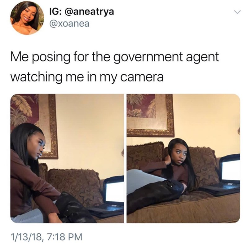 "Funny Twitter meme that reads, ""Me posing for the government agent watching me in my camera"" above photos of a woman posing in front of her computer"