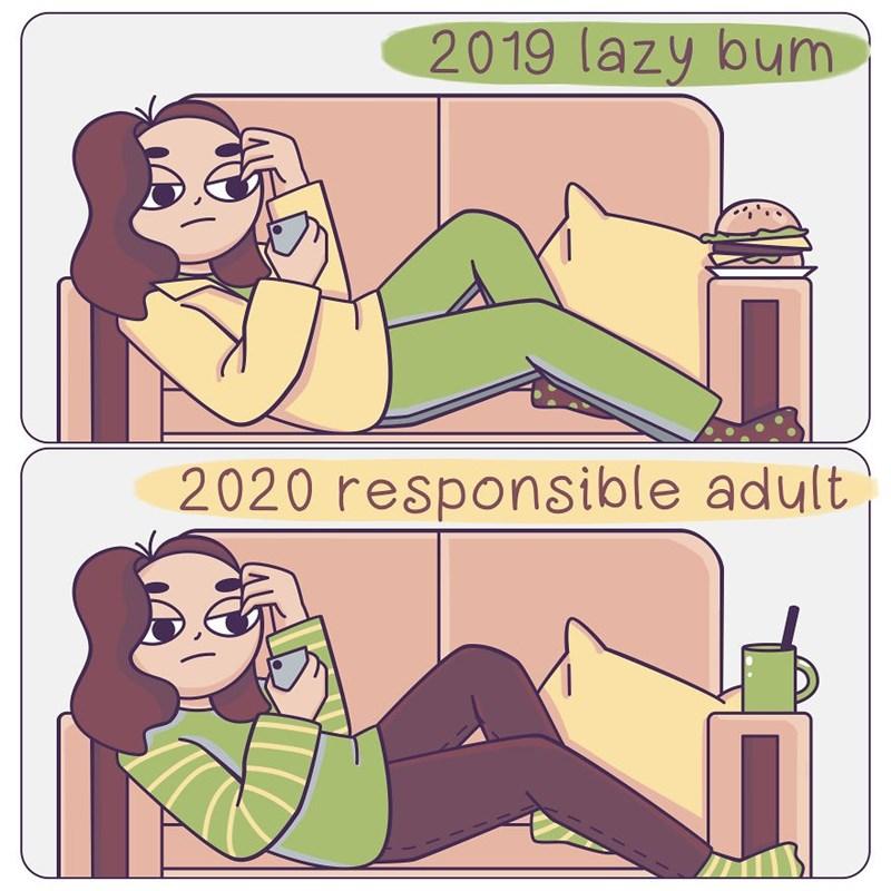 Cartoon - 2019 lazy bum 2020 responsible adult