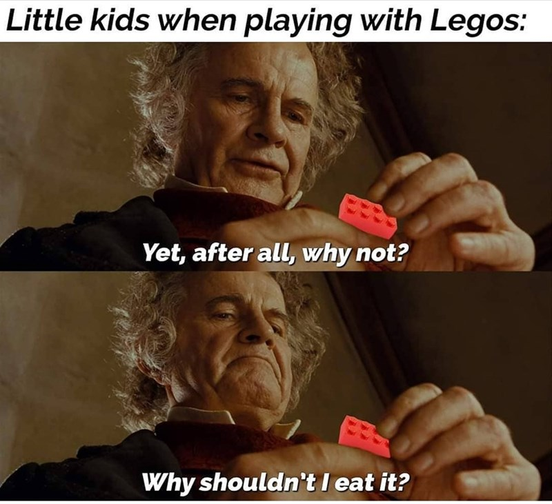 Photo caption - Little kids when playing with Legos: Yet, after all, why not? Why shouldn't I eat it?