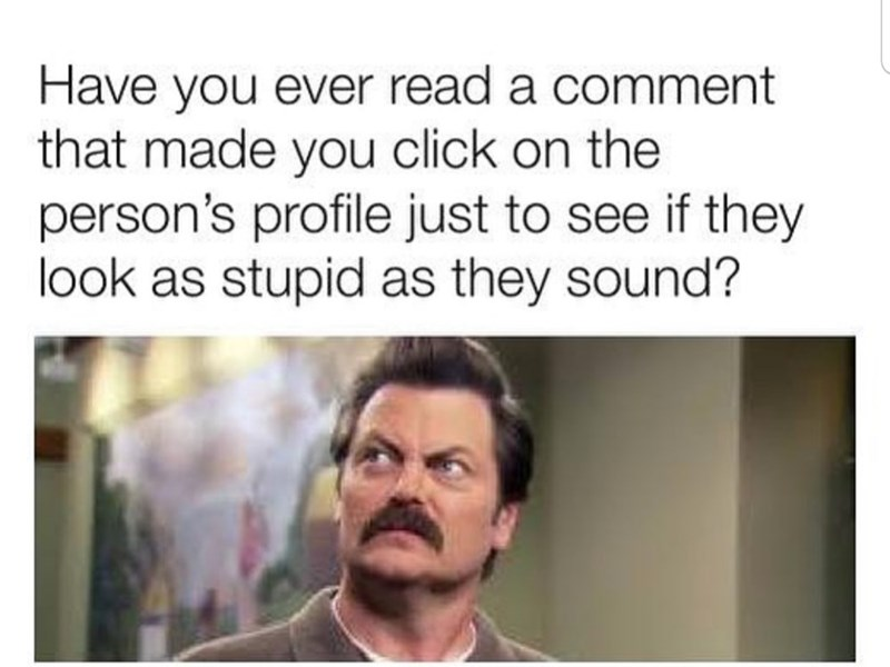 Text - Have you ever read a comment that made you click on the person's profile just to see if they look as stupid as they sound?